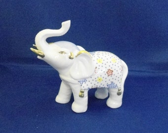 Hand Painted Porcelain Elephant Figurine