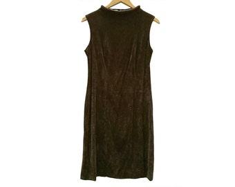 Vintage SUEDE dress//Vintage clothing/vintage pattern/gift for women/brown/vintage print/retro/90s/vintage fashion/Sale