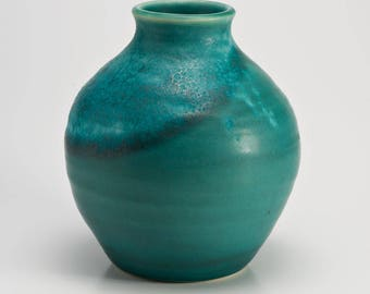 Hand Thrown Stoneware Aqua Blue Bud Vase