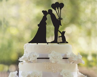 Wedding with cat cake topper- Silhouette wedding cake topper-Personalized cake topper- wedding Cake Topper- Custom Balloons cake topper