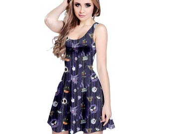 Spooky Pokemon Dress - Skater Dress Ghost Pokemon Dress Scary Pokemon Dress Chandelure Ghastly Umbreon Plus Size Dress Cosplay Ghost Dress