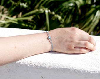 One Cord Evil Eye Turquoise Perl Bead Bracelet/Anklet - TinyLittlePiecesShop