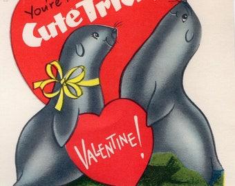 Vintage Valentine Card SEALS 1 Balances A Heart on Nose You're A CUTE TRICK Retro Graphics,Unused Original Greeting Ocean,Sea,Zoo Animals