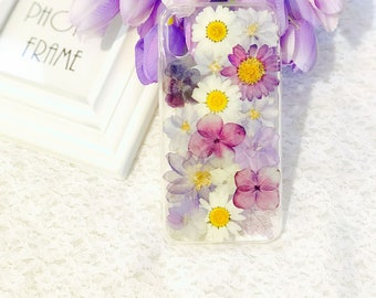 For iphone 10 case Handmade pressed flowers cellphone soft case for  iphone 10 iphone X purple flowers case