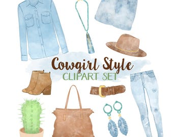Fashion Clipart, Cowgirl Clipart, Country Clipart, Watercolor Clothes Clipart, Watercolor Fashion Clipart, Western Clipart, Commercial Use