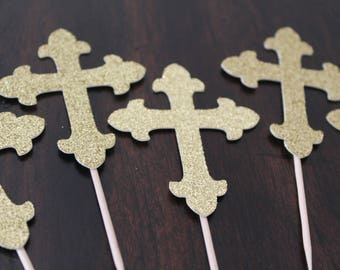Gold cross cupcake toppers | Baptism cupcake toppers | First communion cupcake toppers | Religious decorations