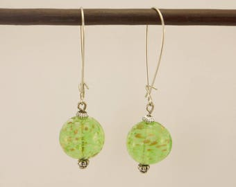 Earrings silver and white and gold sequined green glass bead