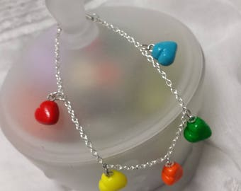 All colors Valentine hearts bracelet