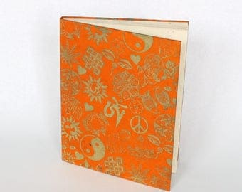 EcoFriendly Handmade Lokta Bark Paper Journal | Orange Peace Ying Yang Om Natural Notebook | Sustainable Hard Cover Diary Nepal | Fair Trade