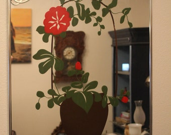 Turner Wall Accessories Painted Wall Mirror Passion Flower Red Flower in Pot