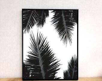 Palms print, printable wall art, beach print, photography print, black and white print, printable art, digital download, modern prints