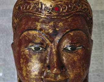 Mask Burmese carved wood covered with gold leaves - AD065