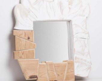 Coga. Mirror frame. Polygonal parts ecru and white circular.