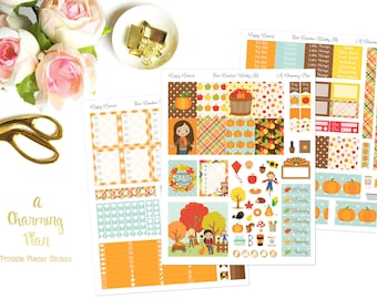 Fall Festival - Printable Planner Stickers - Instant Download- Happy Harvest