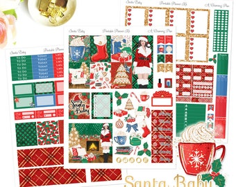 Santa Baby - Printable Planner Stickers - Instant Download