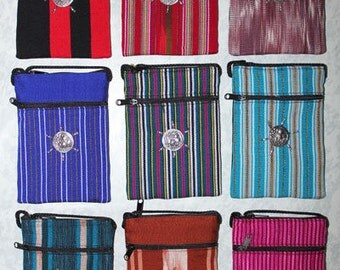9 x ThaiI craft passport shoulder bag purse wallet cross body2 zips