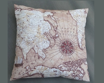 Old Map Nautical Vintage Look Big Cushion Cover Pillowcase 16 x 16 inches