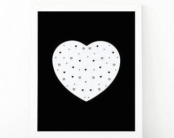heart, heart print, Nursery Wall art, heart wall art, nursery decor, Printable art, scandinavian art, love wall art, modern room decor