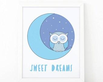 Sweet Dreams Owl, baby blue Print, sleeping owl, Instant download, Nursery print, Nursery wall art, boys room decor, printable art, cute