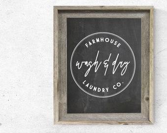 Wash & Dry Farmhouse Laundry Sign Printable PDF / SVG file - Farmhouse Sign, Modern Farmhouse Decor, Fixer Upper Style, Farmhouse SVG