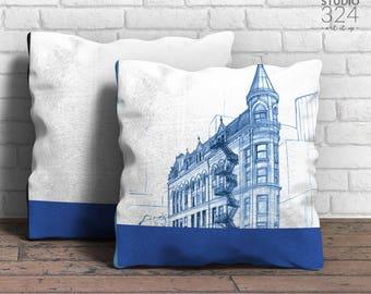 Gooderham Building Square Pillow | Blue Prints