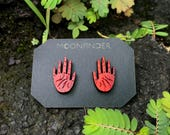 Hand Stud Wooden Earrings Red Open Palm Bloodwood Palmistry