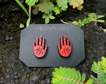 Hand Stud Wooden Earrings Red Open Palm Bloodwood Palmistry