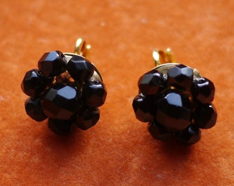 Black glass cluster beaded multifaceted earrings, clip on 1960s vintage patented clip