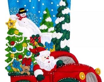 Bucilla Felt Applique Stocking Kit, The Christmas Drive, 86663 Size 18-Inch