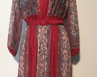 Vintage 1970s Mavinette Burnt Orange Belted Paisley Butterfly Dress