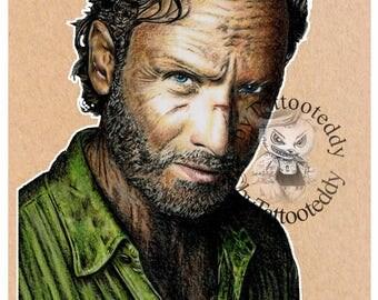 Rick - The Walking Dead  - Fine Art Print - A4/A3