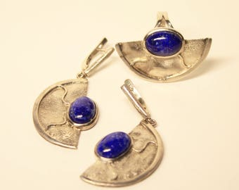 the lapis lazuli earrings, silver  earrings, lapis lazuli ring, silver ring