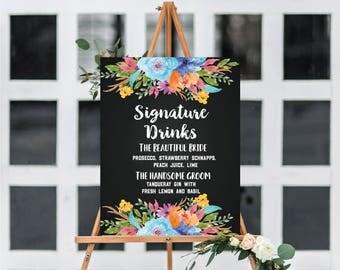 Wedding custom signature drink  signage Custom chalkboard digital print in 8x10, 11x14, 16x20