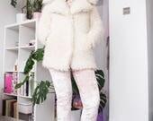 White Faux Fur Coat | Vintage Style | Fluffy Coat | Furry | Winter Coat | Outwear | Lamb Wool Like Coat