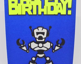 Robot birthday card, kids birthday card, kids birthday gift, kids birthday party, robot birthday, handmade cards geek, happy birthday card
