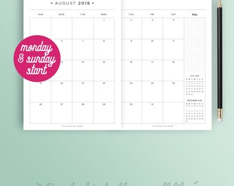 2017 2018 MONTHLY PLANNER, Printable planner, monthly calendar, sunday and monday start, month on 2 pages, A5 Filofax, Half size, A4, Letter