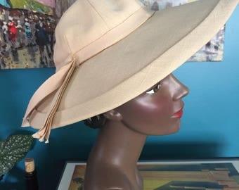 40's-Early 50's Rare Canvas Linen Sun Bonnet Hat