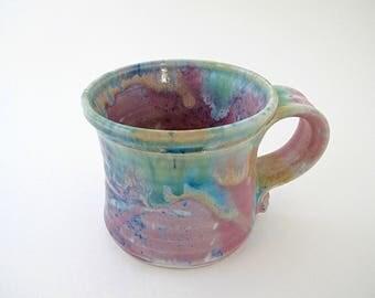 Whimsical Rainbow Mug Vintage Pottery, Small Coffee Cup