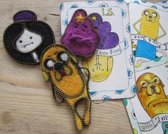 Adventure time pin Lumpy Space Princess pin zipper pin cartoon cute pin funny pin  zipper brooch zipper jewelry pin fabric brooch  Lumpy pin