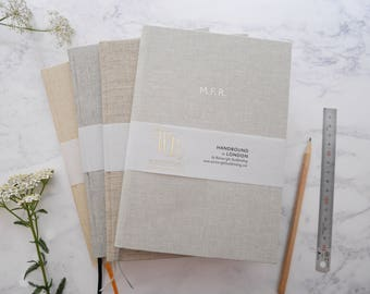 Personalised linen notebook foil-blocked in white // 4 natural linens & marker ribbons to choose from