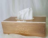 Wooden Rectangular Tissue Box Holder Dispenser Shabby chic Gold Hand decorated with decoupage technique Gift idea Birthday Gift Unique