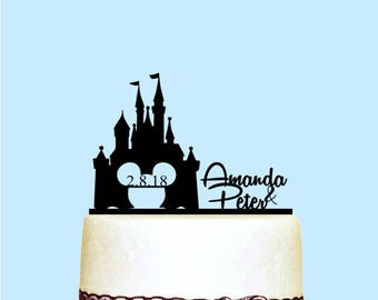 Castle Wedding Cake Topper Couple Name with Date, Disney Cake Topper, Rustic Wedding Cake Topper, Wedding Decoration - Wooden Cake Topper