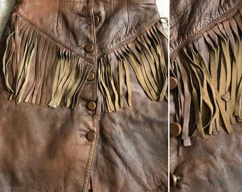 Vintage Fringed Real Leather Skirt Size S/M