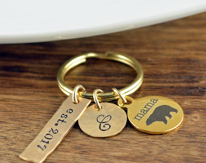 New Mom Gift - Gold Mama Bear Keychain - Mama Bear Jewelry - Mama Bear Jewelry - Mothers Keychain - Personalized Keychain for Mom