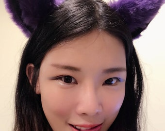 Cat ears Kitty Headwear Dark Purple Black Furry Animal Headband Costume Bow Bells