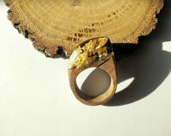 Wood Resin Ring, Made in Italy, Handmade Ring, B.Black n.2, Unique piece, Wood resin jewelry, Handmade Jewelry