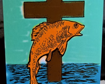 Christian cross and fish - Greeting Card