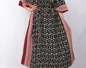 Black kaftan, changing robe, caftan dress, Indian dress, Black dress, kaftan maxi dress, maxi dress, pyjamas, indian kaftan (blk warli)