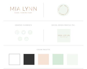 Mint And Gold Logo Design Brand Kit,Photography Logo Watermark - Mint Watercolor Brand Package,Gold Logo Set,Premade Gold Logo,Triangle Logo