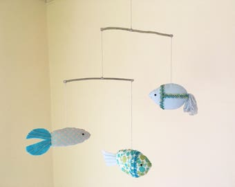 Fish mobile,3 Fish mobile, Nursery Decor,Baby Mobile,Fish Mobile Blue Flower